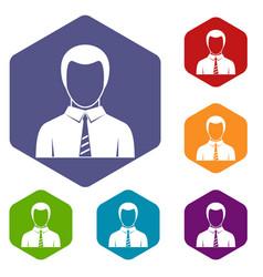 Businessman icons set hexagon vector