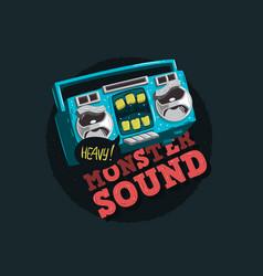 Cartooned funny monster cassette tape characte vector