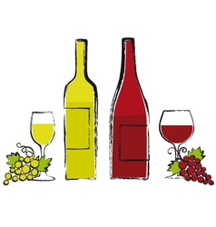 Wine bottles with glasses and grapes vector