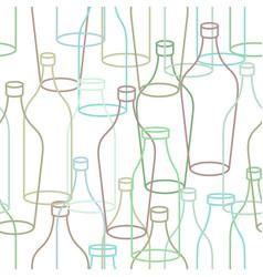 Glass bottle seamless pattern empty transparent vector