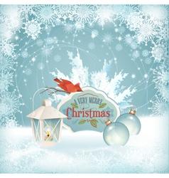 Xmas Bird Lantern Christmas Balls Background vector image