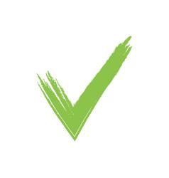 Hand drawn green grunge check mark vector