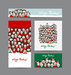 christmas cards with people crowd for your design vector image