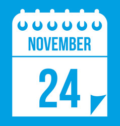 24 november calendar icon white vector