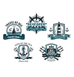 Nautival various heraldic designs vector