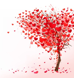 Valentine background with heart shaped tree vector