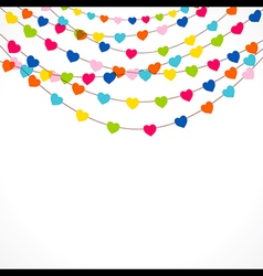 Colorful heart shape flag with confetti design vector
