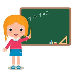 Child girl pupil at the school board vector
