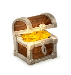 Treasure chest isolated on white background vector