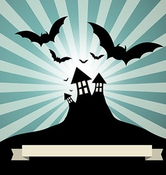 Spooky castle with bats - retro template vector
