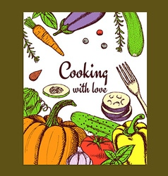 Sketch cooking card vector