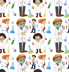 Seamless male and female scientists vector