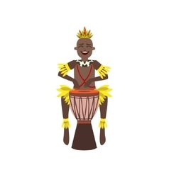 Black man in indigenous brazilian costume vector