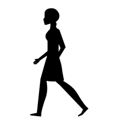 silhouette young woman walking isolated icon vector image