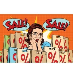 Pop art surprised woman sales discounts the buyer vector