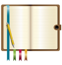 A leather notebook vector