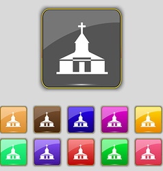 Church icon sign set with eleven colored buttons vector