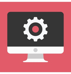Computer display and gear icon vector