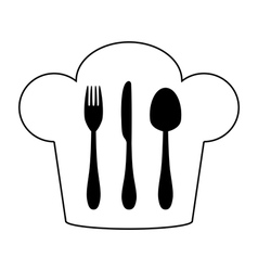 Cutlery and chef hat vector