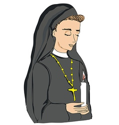 doodle of nun vector image