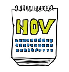 freehand drawn cartoon calendar showing month of vector image vector image