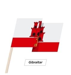 Gibraltar ribbon waving flag isolated on white vector