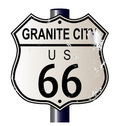granite city route 66 sign vector image vector image