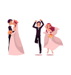 groom and bride character set isolated vector image vector image