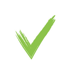 Hand drawn green grunge check mark vector