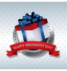 Happy president day present gift ribbon label vector