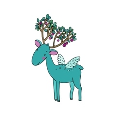Magic Deer with wings vector image