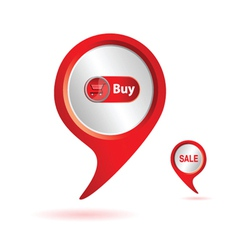 pointer red with buy icon color vector image vector image