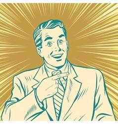 Pop art retro man pointing sideways vector image