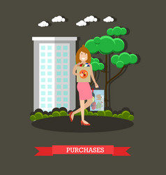 Purchases concept in flat vector