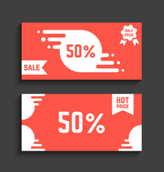 Red flyers with discounts vector