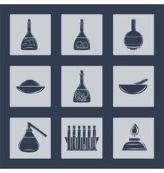 Science lab equipment icons set vector image vector image