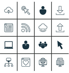 Set of 16 internet icons includes computer vector