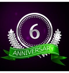 Six years anniversary celebration with silver ring vector