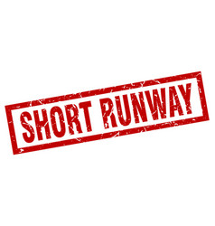 Square grunge red short runway stamp vector