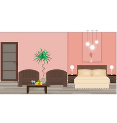 stylish interior of a hotel room with furniture vector image
