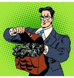 Super businessman suitcase money vector