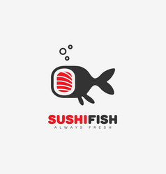 sushi fish logo vector image vector image