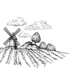 Windmill on agricultural field hand drawn sketch vector