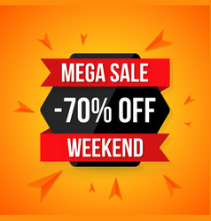 Big sale banner 70 off best offer vector