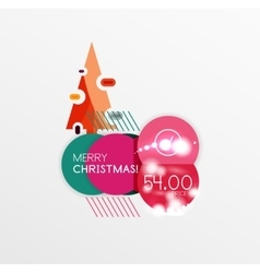 Round christmas sale stickers with winter holiday vector