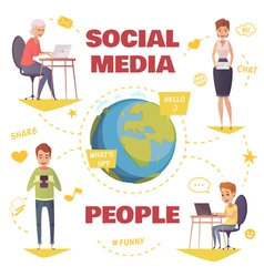 People in social media design concept vector