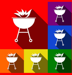 Barbecue with fire sign  set of icons with vector