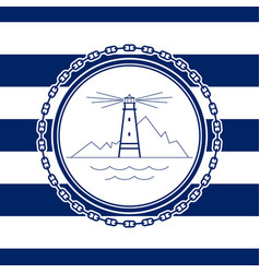 sea emblem with lighthouse vector image