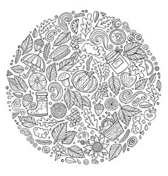 Autumn cartoon doodle objects symbols and items vector