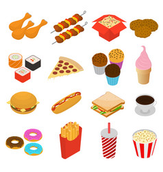 fast food color icon set isometric view vector image